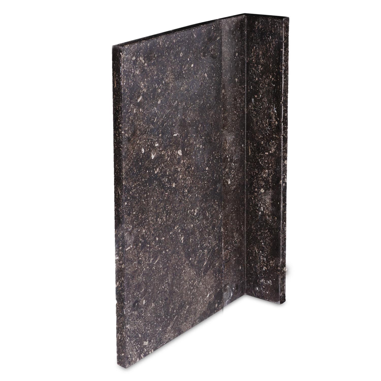Gevelplint hoek - 10/10x2 cm - Binnenhoek & buitenhoek - Hoogte op maat - 30-80 cm - Belgisch hardsteen donker gezoet / antraciet