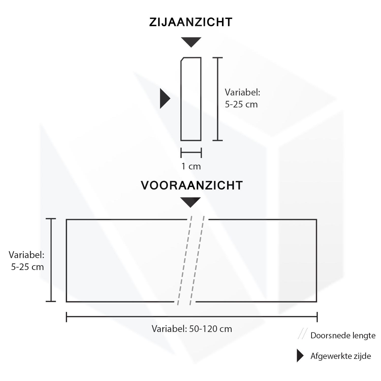 Plint Belgisch hardsteen gezoet 1 cm dik - OP MAAT-  5-10 cm breed - 50-120 cm lang - Muurplint licht / blauw gezoet arduin