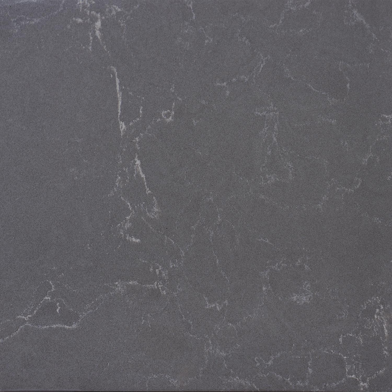 Wastafelblad kwartscomposiet - incl. gaten - graphite (grafietgrijze) marmer look - OP MAAT - 2 cm dik - 10-70 cm breed - 10-230 cm lang -  Gepolijst quartz composiet graphite marmer imitatie
