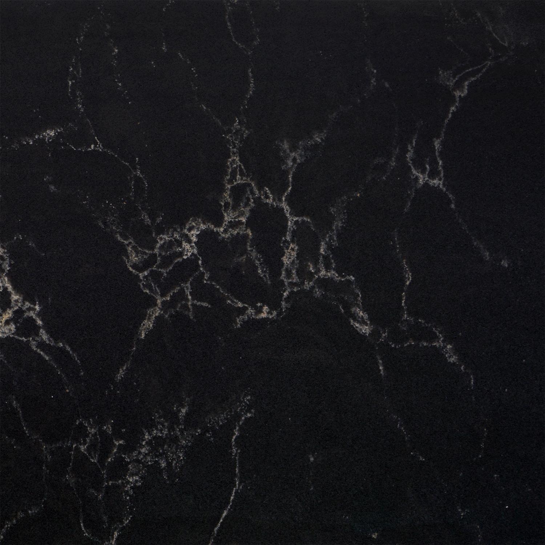 Wastafelblad kwartscomposiet - incl. gaten - zwart marmer look - OP MAAT - 2 cm dik - 10-70 cm breed - 10-230 cm lang -  Gepolijst quartz composiet zwarte marmer imitatie