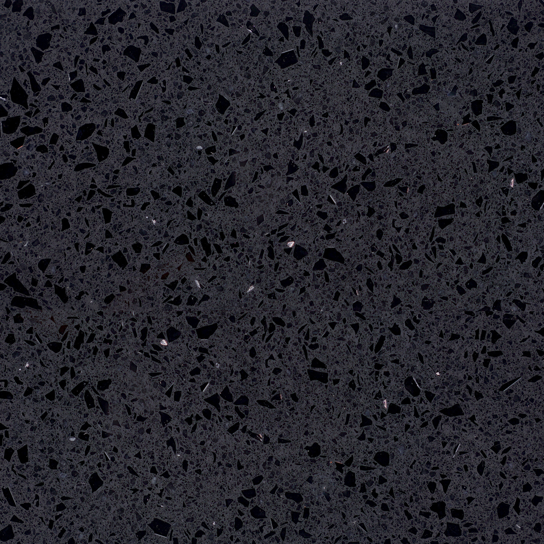 Wastafelblad kwartscomposiet - incl. gaten - zwart spark - OP MAAT - 2 cm dik - 10-70 cm breed - 10-230 cm lang -  Gepolijst quartz composiet zwarte natuursteen look met glitter