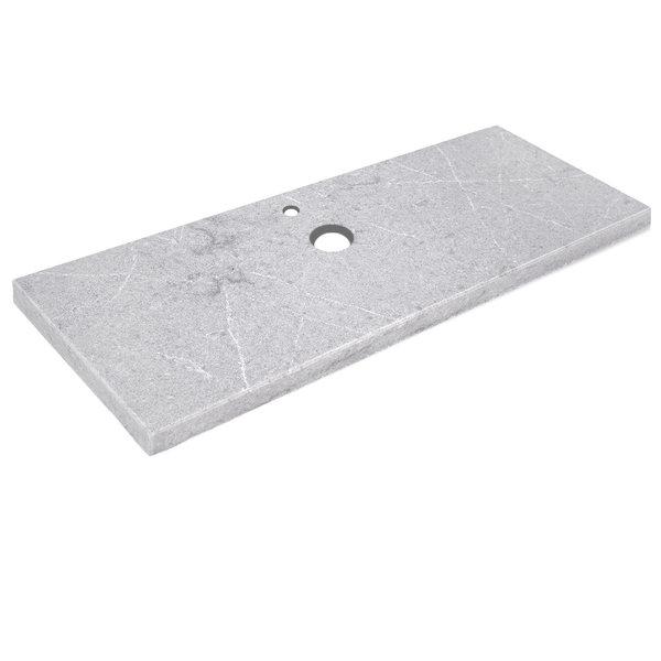 Wastafelblad kwartscomposiet - incl. gaten - grijs natuursteen look - OP MAAT - 2 cm dik