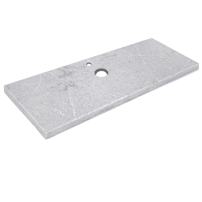 Wastafelblad kwartscomposiet - incl. gaten - grijs natuursteen look - OP MAAT - 2 cm dik - 10-70 cm breed - 10-230 cm lang -  Gepolijst quartz composiet grijze natuursteen imitatie
