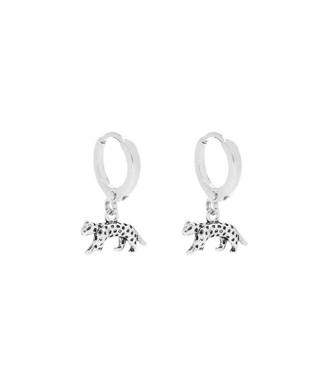 Silver Wild Leopard Earrings