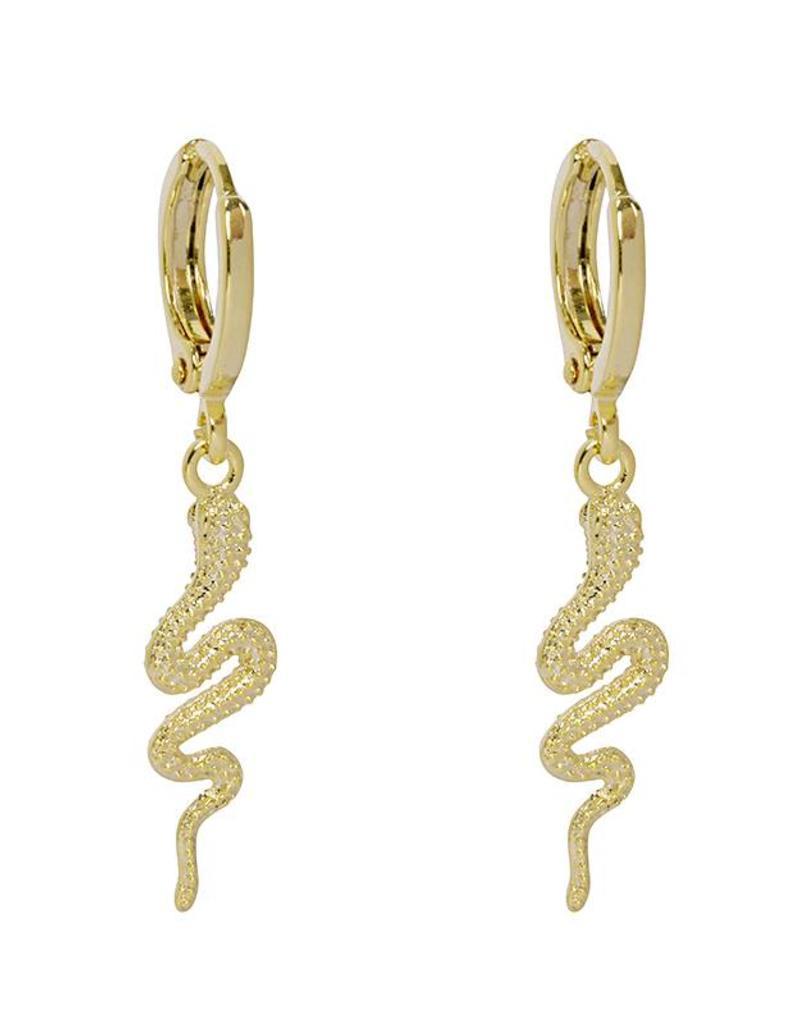 Gold Solid Snake Earrings