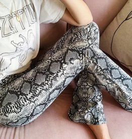 Grey Snake Flared Leggings