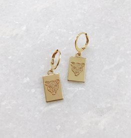 Gold Leopard Head Card Earrings
