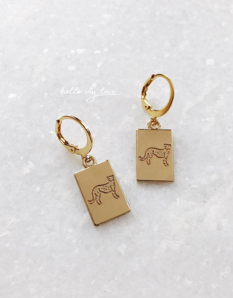 Gold Sweet Leopard Card Earrings