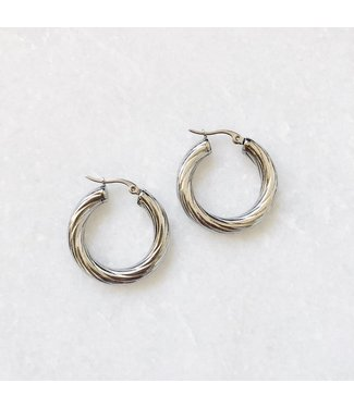 Silver Stella Hoop Earrings