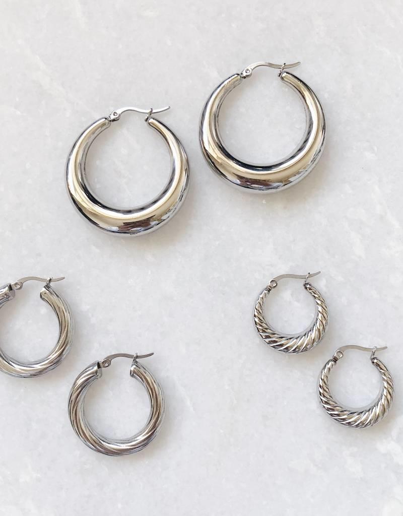 Silver Stella Hoop Earrings