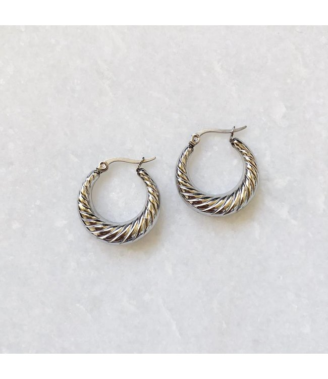 Silver Rosie Hoop Earrings
