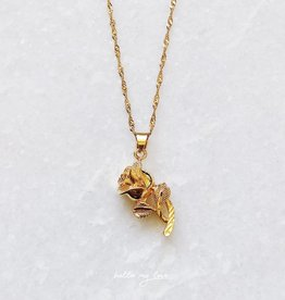 Gold Vintage Rose Necklace