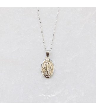 Silver Heart Of Mary Necklace