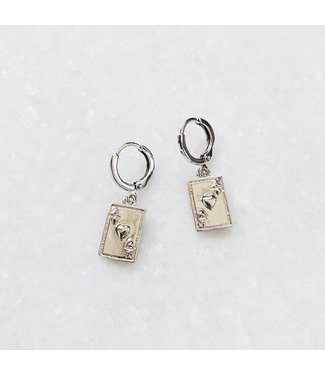 Silver Ace of Hearts Earrings