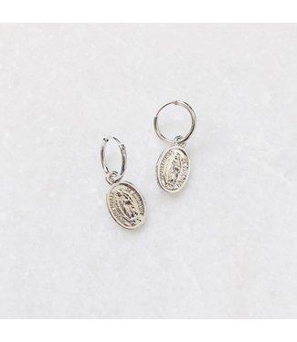 Silver Forever Mary Hoop Earrings