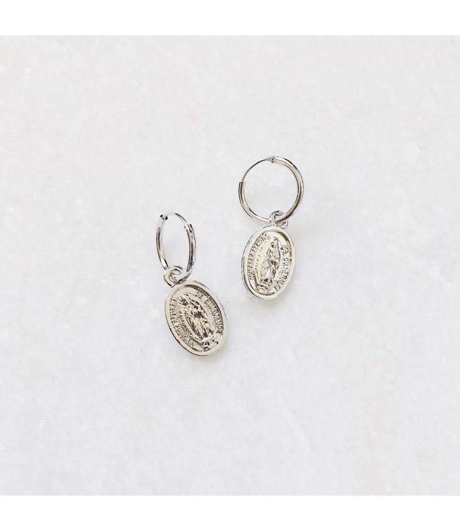 Silver Forever Mary Hoop Earrings