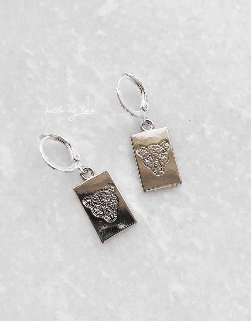 Silver Leopard Head Card Earrings