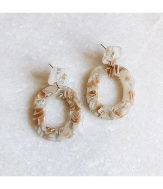 Dajah Marble Earrings / Beige