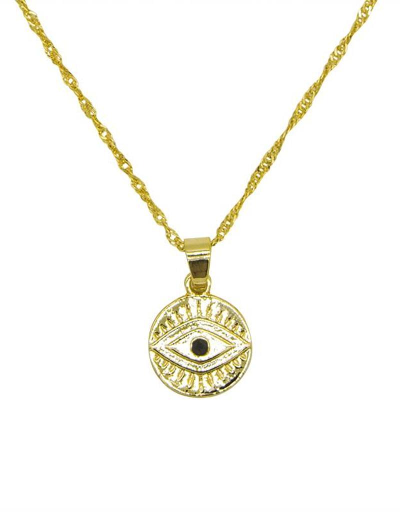 Gold Coin Eye Necklace
