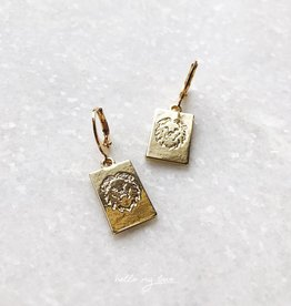 Gold Lion Head Card Earrings