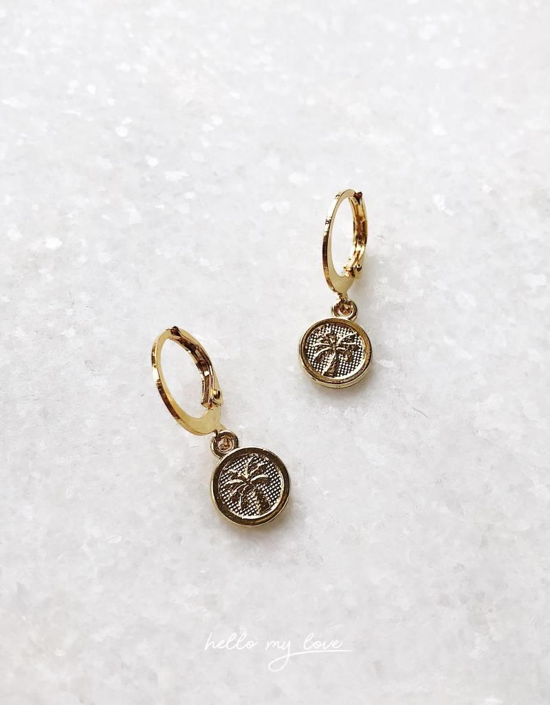 Gold Palm Coin Earrings