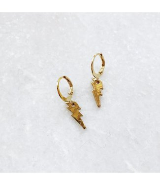 Gold Thunderbolt Earrings