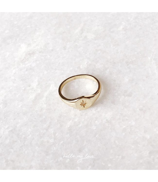 Gold North Star Ring