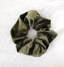 Cara Velvet Scrunchie / Green