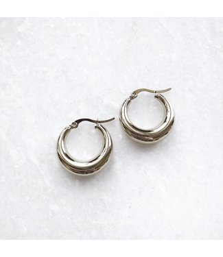 Silver Belle Hoop Earrings