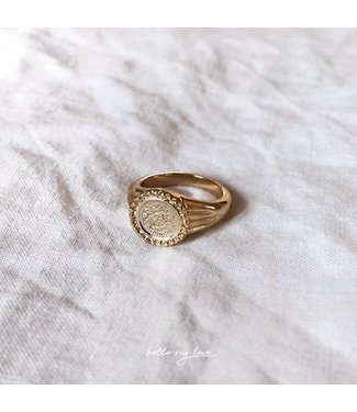 Gold Roman Coin Signet Ring