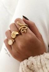Gold Roman Coin Signet Ring