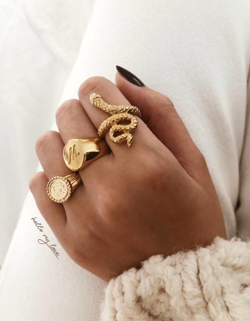 Gold Initial Signet Ring