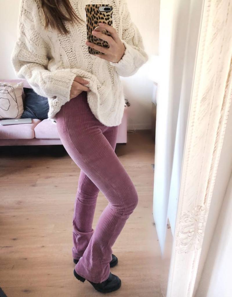 Pink Corduroy Flared Trousers