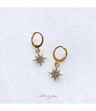 Gold Sparkling Star Earrings