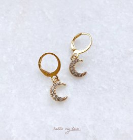 Gold Sparkling Moon Earrings