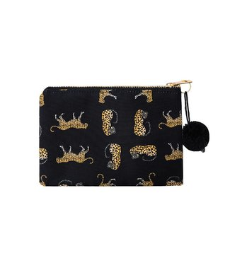 Black Lucky Leopard Makeup Bag