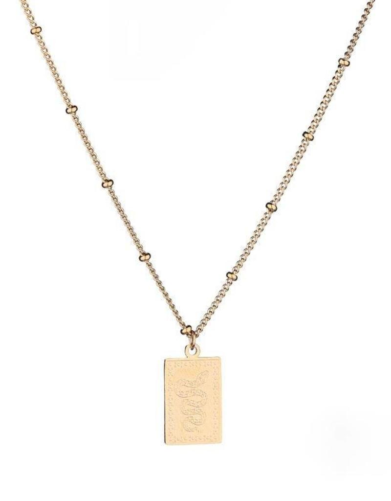 Gold Snake Card Necklace