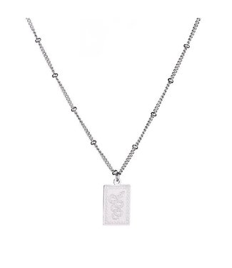 Silver Snake Card Necklace