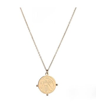 Gold Bee Coin Necklace