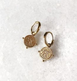 Gold Bee Coin Earrings