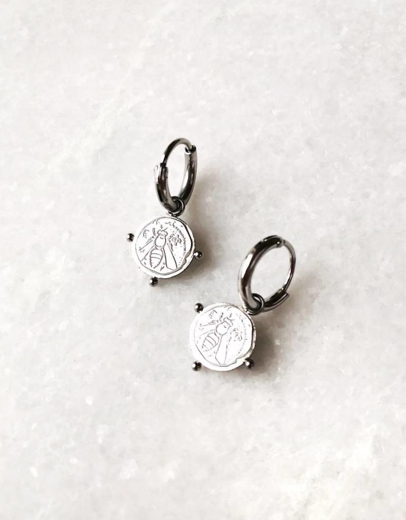 Silver Bee Coin Earrings