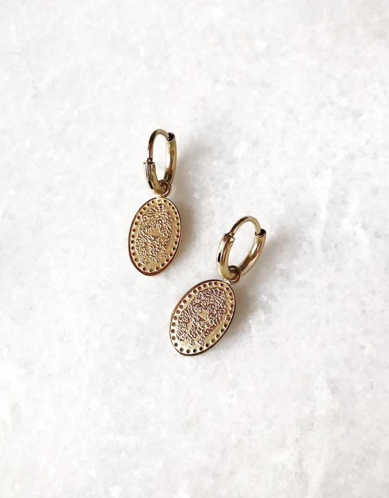 Gold Tiger Plate Earrings