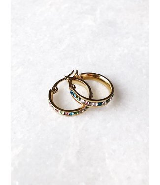 Gold Colourful Hoop Earrings