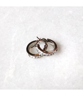 Silver Tiny Sparkle Hoop Earrings