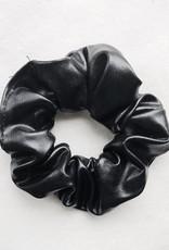 Cara Faux Leather  Scrunchie / Black
