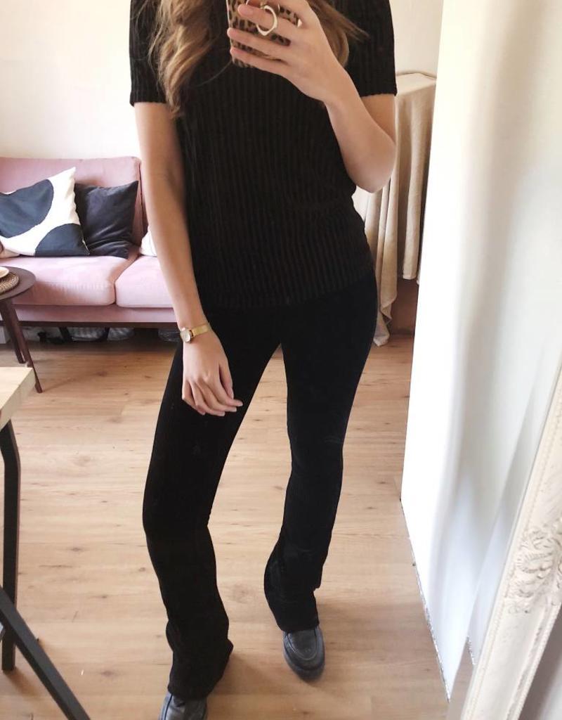 Black Corduroy Flared Trousers
