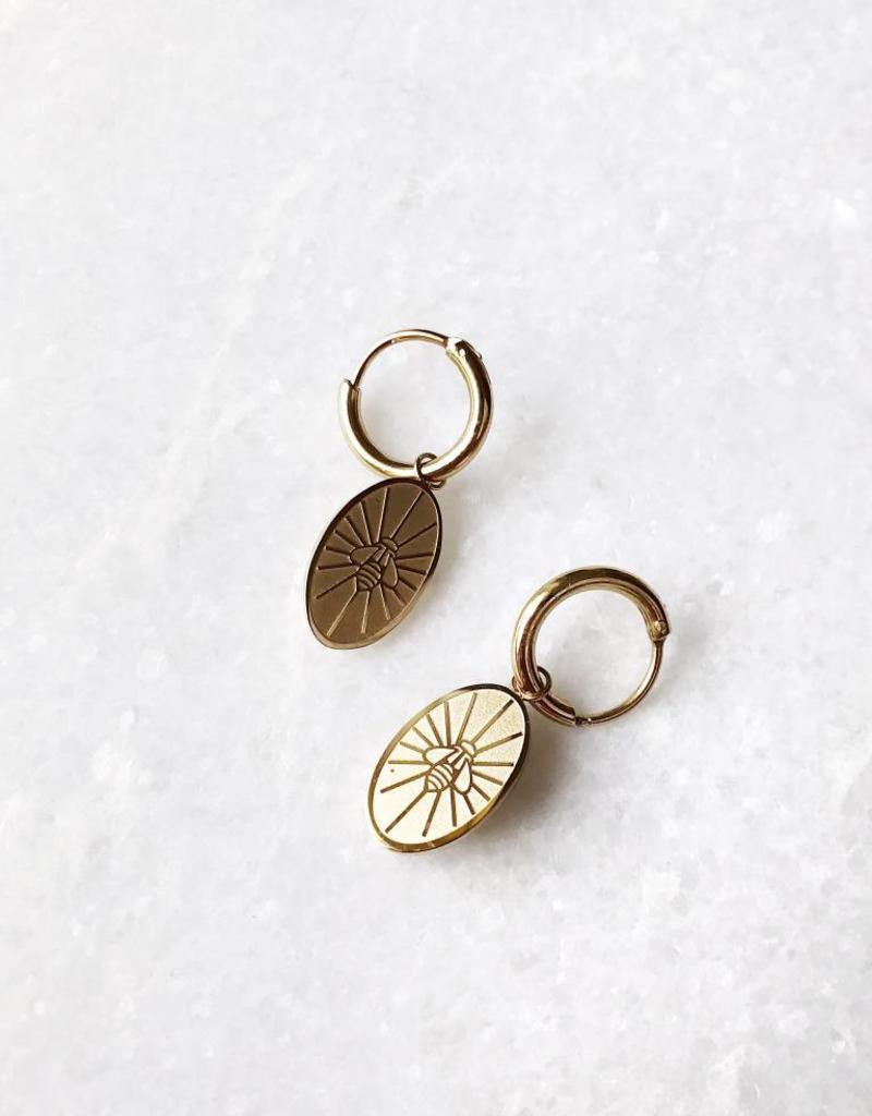 Gold Bee Plate Earrings