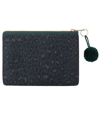Green Lovely Leopard Makeup Bag