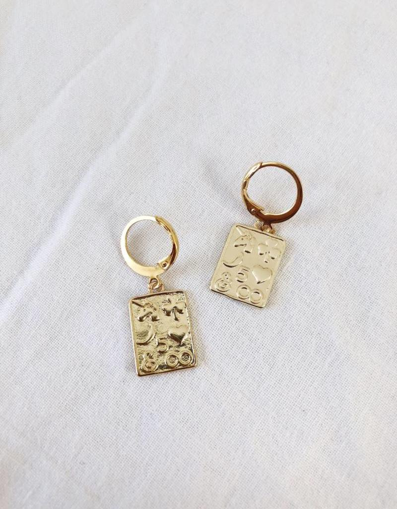 Gold Lucky Cards Earrings