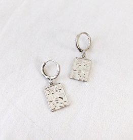 Silver Lucky Cards Earrings